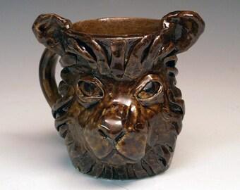 Lion Face Mug - Handmade OOAK ceramic