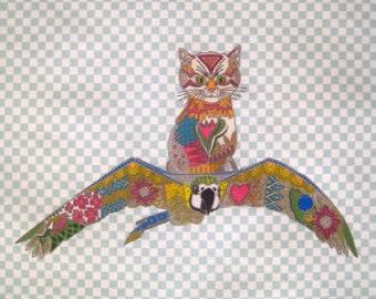 Bird Cat Linen Fabric Pillow Panel Quilt Block