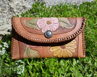 Leather Hand Carved/Stamped Clutch