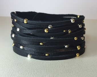Mixed metal black leather cuff bracelet