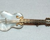 Vintage /  Damascene / Guitar / Mother of Pearl / Brooch / Musical / Instrument / Spain / old / jewelry / jewellery