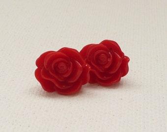 ns-Red Rippling Rose Stud Earrings