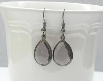 Smoke Gray Teardrop Acrylic Dangle Earrings