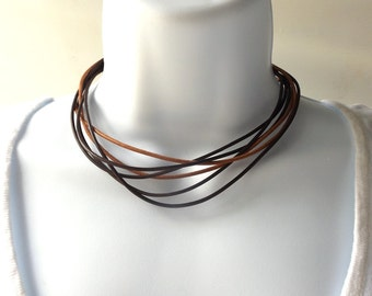 leather cord necklace black brown tan sliding adjustable jewelry mens womens rustic boho hippie simple minimalist choker thin modern natural