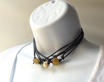 jade bead black leather cord necklace sliding adjustable jewelry mens womens rustic boho hippie simple minimalist choker thin modern natural