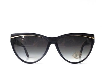 vintage 1980's NOS cat eye round sunglasses black plastic gold frames gray grey lenses sun glasses womens accessories fashion retro modern