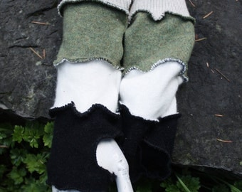 Up-Cycled Cashmere Grey, Green, White, & Black Arm Warmers