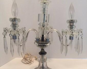 Vintage 3 Arm Crystal Candelabra Table Lamp