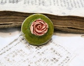 special listing for violets - color and energy - handmade geometry ceramic clay cab - assemblage jewel diy ooak - green - for ring