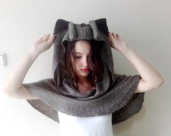 Hooded Cape Wrap Animal Hat Pancho, Hoodie with ears, Hooded cowl ears hood hoodie
