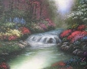 Creekside Flowers Original Oil Painting 18X24 creek, flowers, woods, serene, peaceful woods, brook, river, forest, Vickie Wade art