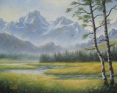 Mountain Meadow Original Oil Painting 16X20 sawtooth mountains, stream, meadow, Idaho, river, deer, birch trees, golden, Vickie Wade Art