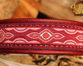 "Dog Collar ""Lava"" by dogs-art, martingale collar, limited slip collar, leather dog collar, burgundy dog collar, dog collar leather, collar"