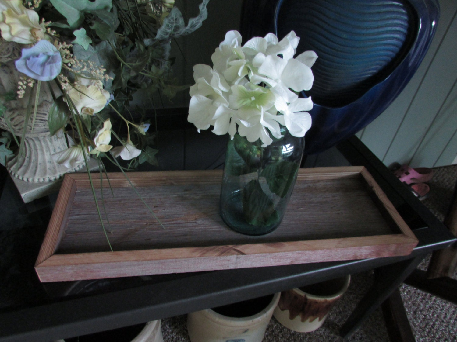 Table centerpiece rustic wooden serving tray mason jar
