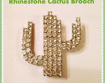 Rhinestone Cactus Brooch, NOS, Vintage, 1980's