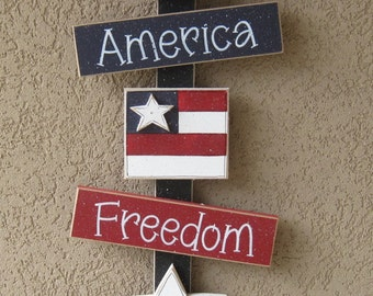 July Thoughts, 4th of July decor, star, flag, freedom, America wall, door, office, and home decor