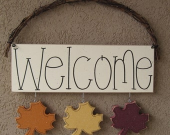WELCOME SIGN (LEAVES) for wall and home decor