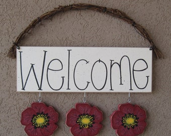 WELCOME SIGN (Poppies) for wall and home decor