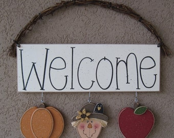 Welcome sign (Pumpkin, Scarecrow, Apple) for wall and home decor