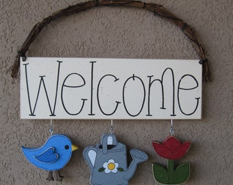 Welcome sign (Bird, Watering can, Tulip) for wall and home decor