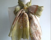 LABOR DAY SALE vintage. Chartreuse and Orange Silk Long Scarf