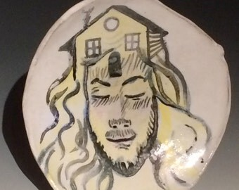 Majolica plate wall hanging painting, House Head, art pottery serving dish, portrait of a poet man