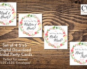 """Will You be My Bridesmaids / Will you be my Maid of Honor Cards / Set of 4 5""""x5"""""""