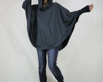 Dark Charcoal Cotton Mix Polyester Jersey Oversize Hood Cape Batwing Sweater Dolman Sleeve Blouse Women Tops Size 4 To Size 3X