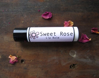 Rose Lip Balm -  Natural Lip Balm - Herbal Lip Balm - Small Gift - Stocking Stuffer -  With Plantain, Chickweed and Calendula Oils