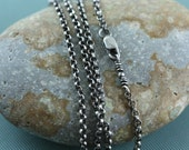Sterling Silver Rolo Belcher Chain Necklace,  Mens, Womens, Unisex, All Lengths, Oxidized Patina, 2.1mm, For Charms Pendants