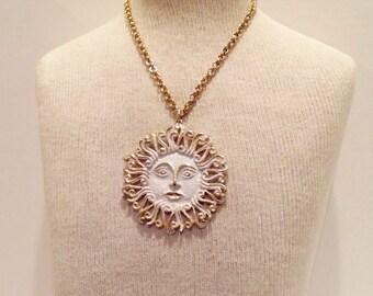 Rare 1970's Coro Sun Pendant - Vintage Coro Figural Sun pendant Costume Jewelry