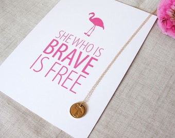 Brave Inspirational Quote Desk Card   Flamingos for a Cure   Pink Flamingo   Art Print   Breast Cancer Awareness