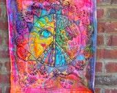 Dream Believe Repeat, Hippie Art Quilt, Mandala, Peace Love Happiness
