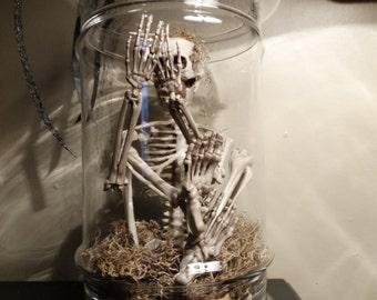 LARGE Halloween Skeleton Jar -Apothecary jar of Skeleton Bones