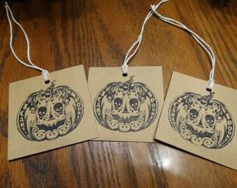 SET of 3 Chipboard Halloween Pumpkin Hang Tags
