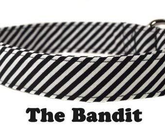 The Bandit - Black and White Stripe Dot Dog Collar