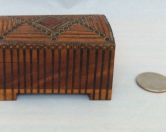 Vintage Miniature Carved Wooden Hope Chest - Exacting Details - 1:12 Scale