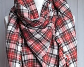 Cotton flannel scarf, BLANKET plaid scarf  brown red white with leather STRAP,  FASHION oversized scarf