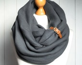 CHUNKY Infinity Scarf with leather cuff, winter fashion infinity scarf, charcoal snood