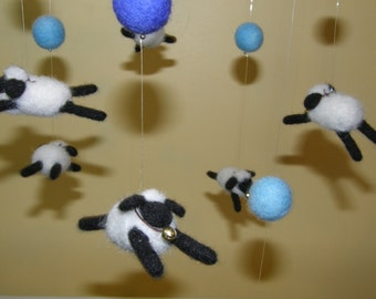 Counting Sheep Mobile in Needle Felted Wool for Nursery or Sheep Lover