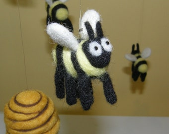 Bee and Skep Mobile in Needle Felted Wool