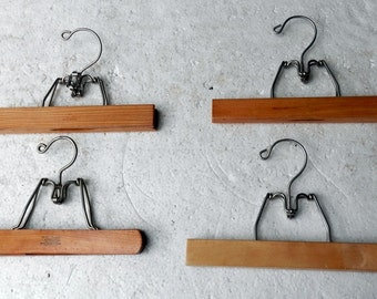 group of 4 vintage wooden pants or slacks hangers group B
