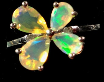 Opal Ring Faceted Solid Opal Butterfly Sterling Silver Ring with 4 Opal Gems in Sterling Silver Size 8