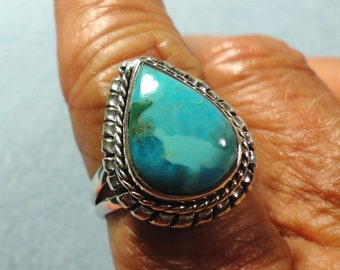 Turquoise Ring Genuine Turquoise Ring in Solid Sterling Silver Size 6
