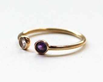 Double Birthstone Ring (14K gold)
