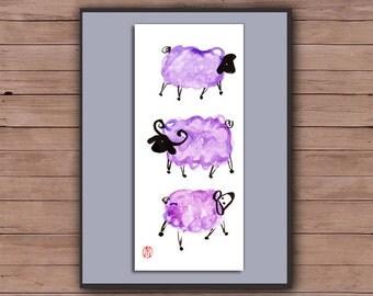 Chinese New Year of the Sheep, Ram, Goat Chinese zodiac, Shengxiao, Original Zen Watercolor sumi-e ink Painting, zen decor, nursery art lamb