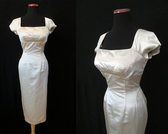 "Stunning  1950's Designer Curve Hugging Silk Satin Shelf Bust Cocktail Dress by ""Leopold's "" Rockabilly VLV Pinup Hourglass Size-Small"