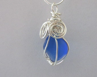 Wire Wrapped Necklace, Blue Sea Glass Jewelry, Beach Glass Pendant, Sea Glass Pendant, Gift for Women, Wrapped Sea Glass, Wired Jewelry