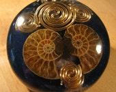 Orgonite Pendant - Fossilized Ammonite, Azurite and Tiffany Stone