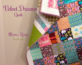 "Velvet Dreams, Modern Patchwork Quilt, 51"" x 63"""